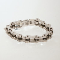 Stainless Steel Bicycle Chain Bracelet Polished Links Black Beads