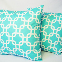 Turquoise Decorative Throw Pillow Covers Teal Blue and White Pillows - 20 x 20 inches Cushion Cover Accent Pillow