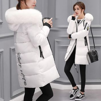 Summer on sale 2019 Winter women fur collar Long hoodie Down Parkas Jacket Plus Size Long Hooded Down thick Parkas