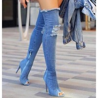 2017 Hot Women Boots summer autumn peep toe Over The Knee Boots quality High elastic denim fashion boots high heels plus size