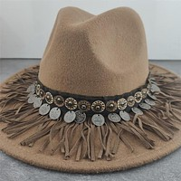 Gypsy Hat Wide Brim Fedora Panama 17 Different Styles & Colors You Choose Boho Wool Felt Hat With Coins Fringe Pom Poms Longhorn Tassels Mirrors Feathers Embroidery Check Them Out!