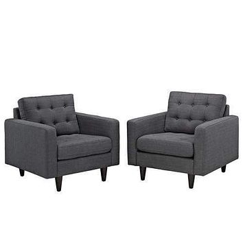 Empress Armchair Upholstered Set of 2 Gray