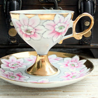 Antique 1940s-1950's Lustreware Pink and Gold Japanese Tea Set / Bridal Gift / Tea Party / Tea Set / Footed Cup