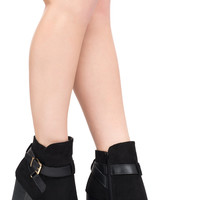 FAUX SUEDE BUCKLE ANKLE BOOT