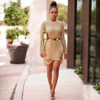 Women Lace long Sleeve casual loose Mini Party Evening Bodycon Summer Dress