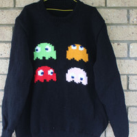 Video Game Old Favourites Acrylic Sweaters Scroll through to find your favourite. Mushroom 1 UP, Space Invaders, Pong, Mario & Pac Man.
