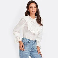 Eyelet Embroidered Ruffle and Bell Cuff Blouse White Blouses Elegant Women's Long Sleeve Blouse