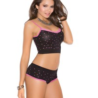 Heart print cami top with lace trim and matching booty shorts  Black/Hot Pink