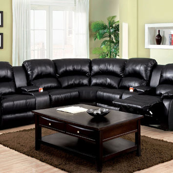 CM6557BP 3 pc Aberdeen black bonded leather reclining sectional sofa set with center drink consoles