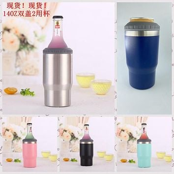 With Double Lid 14Oz Car Mug, 304 Stainless Steel Vacuum Insulation Cold Preservation Beer Mug, Dual-Purpose Cola Can Water Glass
