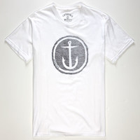 Captain Fin Reverse Circle Anchor Mens T-Shirt White  In Sizes