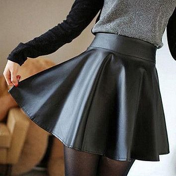Sexy Women  Fashion Fall Winter Skirts Faux Leather High Waist Pleated Skirt Black Red Skirt