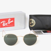 NEW Ray-Ban Round Metal RB3447 001 50-21 Sunglasses Green Classic G-15 With Box
