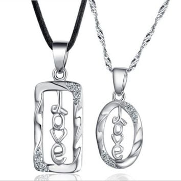 """Couple's """"love"""" sign sterling silver necklace sets"""