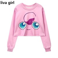 Women's Squirtle Jigglypuff Pikachu Crop Top Harajuku Loose 3D  cartoon Print Sweatshirt Ladies' Pullover  Kawaii Pokemon go  AT_89_9