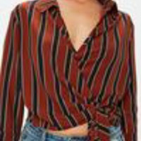 Missguided - Red Wrap Over Tie Side 3/4 Sleeve Blouse