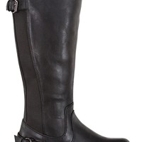 BLACK CRINKLE FAUX LEATHER KNEE HIGH RIDING BOOTS