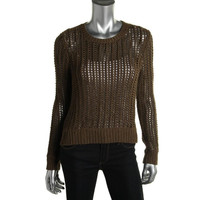 MICHAEL Michael Kors Womens Petites Crochet Hi-Low Pullover Sweater