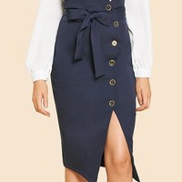 High Waisted Belt Pencil Skirt