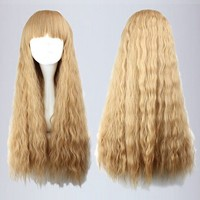 NEW Lolita Long Blonde Curly Fashion Women's Hair Wig With Bangs