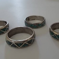 Old~Vintage~Native American~Southwestern~Turquoise~Band~Rings~Sterling Silver~Mens~Womans~Jewelry~Old 80's Stock~Biker~Hippie~Wedding Band