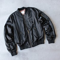 Padded Satin Bomber Jacket in Black