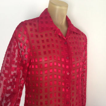 Sheer Red Blouse Textured Squares See Through Long Sleeve Button Down Shirt 90s Blouse Side Slits Petite M Valentines Day Geometric Top