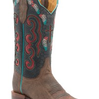 Cinch Women's Vintage Tan Goat with Black & Red Inlay Top Square Toe Western Boots