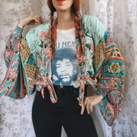 Floral Print Kimono Jacket Jackets V-Neck Kimono Sleeve Casual Beach Cardigan Boho Women Jacket Top