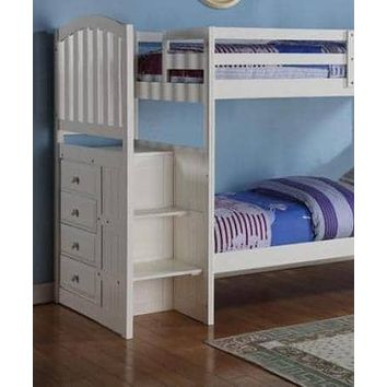 Eva White Twin Bunk Bed with Stairs
