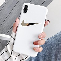 NIKE Fashion Women Men iPhone Phone Cover Case For iphone 6 6s 6plus 6s-plus 7 7plus iPhone X XR XS XS MAX White