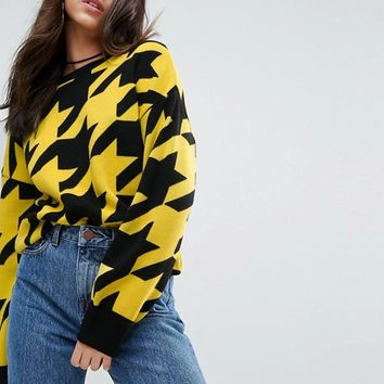 ASOS Jumper With Houndstooth Pattern at asos.com