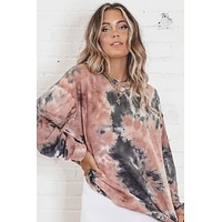 Until The Sunrise Mauve Tie Dye Crewneck Top