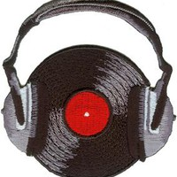 Headphones Iron-On Patch With Record