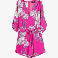 Pink Floral Silky Chiffon Romper