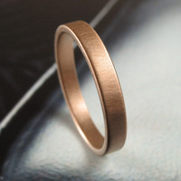 Brushed 3MM Rose Gold Low Profile Wedding Band