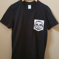 Undertale Sans Hand Stitched Pocket T-Shirt Design - Mens Womens Unisex