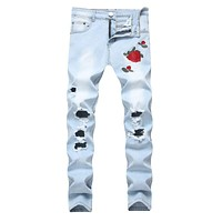 Men Cotton Rose Embroidered Ripped Jeans