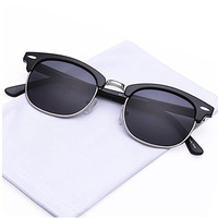 Vintage Retro Classic Half Frame Horn Rimmed Sunglasses with Polycarbonate Lenses