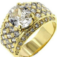 Lulani Oval Cluster Gold Engagement Ring | 5ct | Cubic Zirconia | 18k Gold