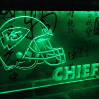 LD324- Kansas City Chiefs Helmet NR Bar   LED Neon Light Sign     home decor  crafts