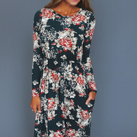 HUNTER GREEN FLORAL MIDI DRESS
