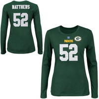 Clay Matthews Green Bay Packers Majestic Womens Fair Catch V Name and Number Long Sleeve T-Shirt – Green