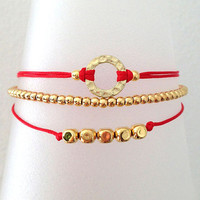 Triple Gold and Red Friendship Bracelet with Adjustable Cord