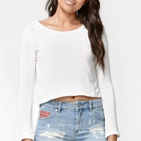 Kendall & Kylie Long Sleeve Open Back Top - Womens Tee - White