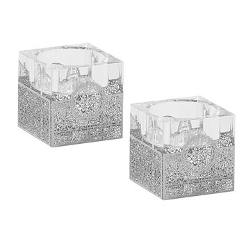 """Crystal And Silver Tealight Candle Holder 2""""H X 2""""W"""