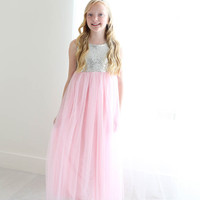 Silver Sparkle & Light Pink Tulle Tutu Gown Dress