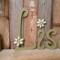 PERSONALIZE your own WORD shabby chic rustic home decor wedding photo prop girls room cottage flower daisy wooden letter gift