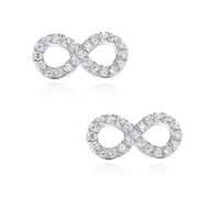 Infinity W. Cubic Zirconia Stud Earrings