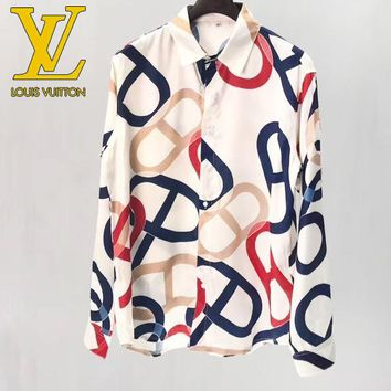 LV Louis Vuitton Popular Women Men Comfortable Print Long Sleeve Lapel Top Shirt
